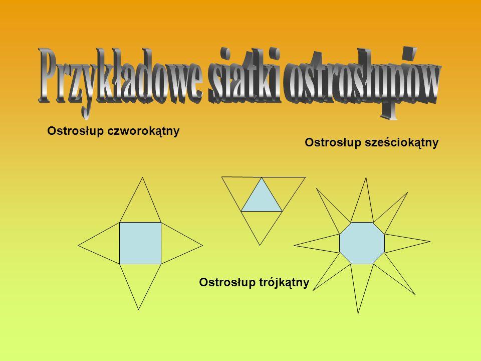 Ostrosłup czworokątny Ostrosłup trójkątny Ostrosłup sześciokątny