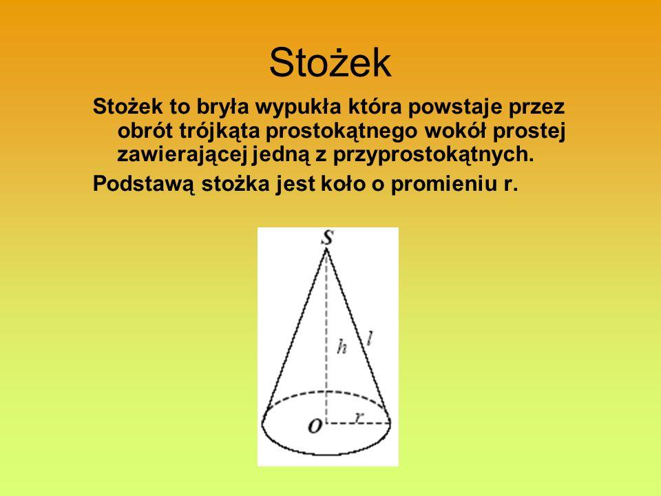 Stożek Stożek to bryła wypukła która powstaje przez obrót trójkąta prostokątnego wokół prostej zawierającej jedną z przyprostokątnych. Podstawą stożka