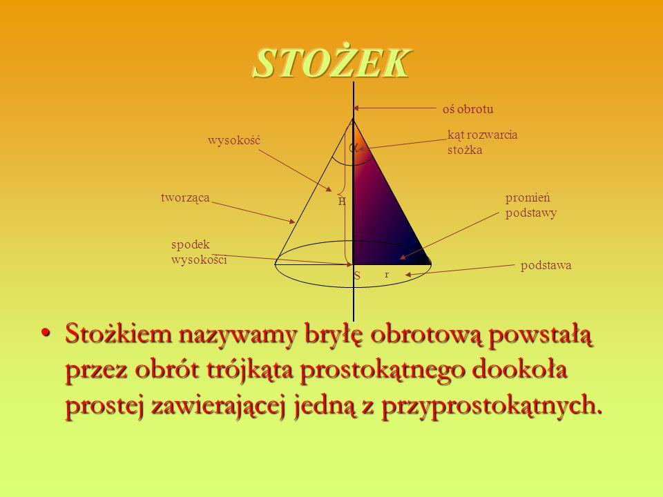 α Stożkiem nazywamy bryłę obrotową powstałą przez obrót trójkąta prostokątnego dookoła prostej zawierającej jedną z przyprostokątnych.Stożkiem nazywam