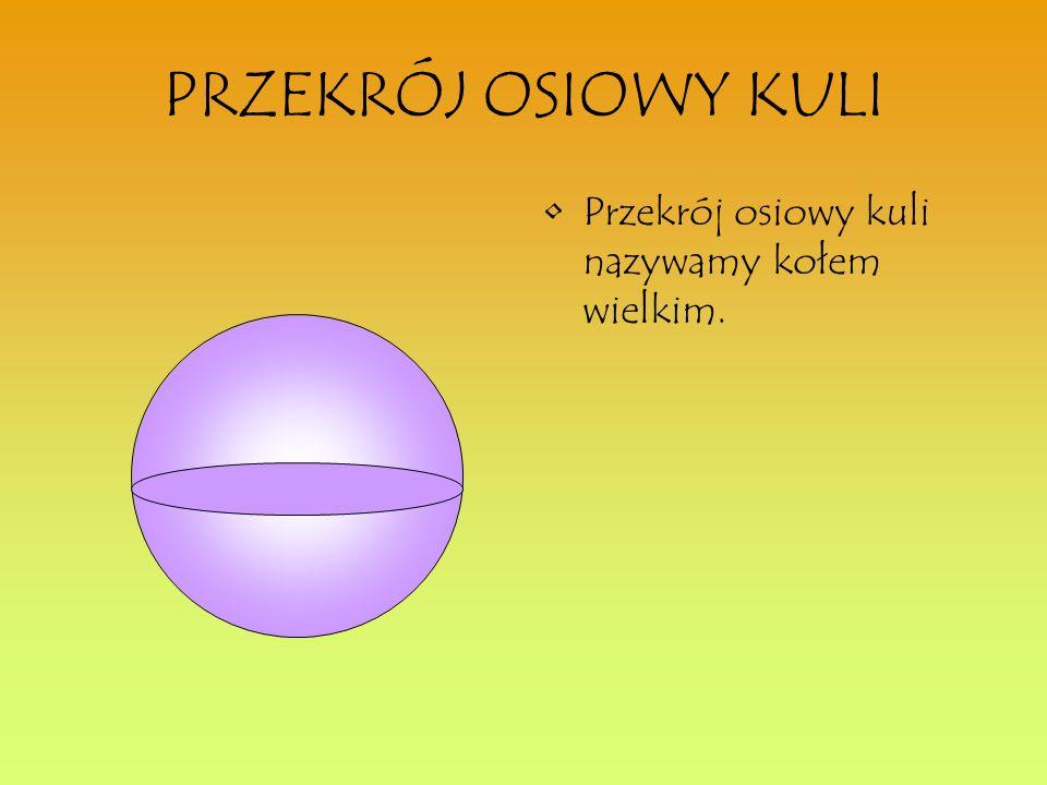 PRZEKRÓJ OSIOWY KULI Przekrój osiowy kuli nazywamy kołem wielkim.