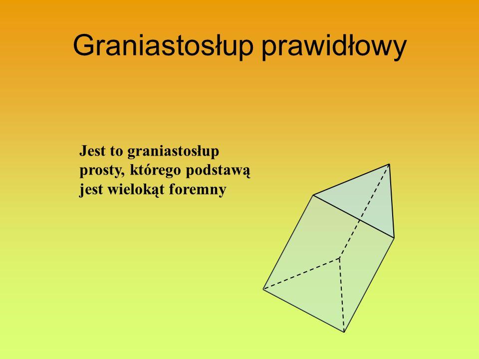 Graniastosłup prawidłowy Jest to graniastosłup prosty, którego podstawą jest wielokąt foremny