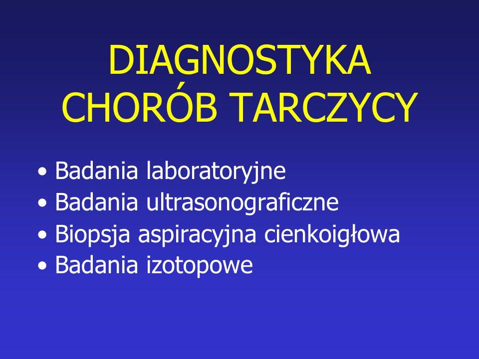 Badania laboratoryjne Oznaczanie stężenia TSH w surowicy krwi Oznaczanie stężeń wolnych hormonów tarczycy FT 3, FT 4 Oznaczanie stężenia przeciwciał tarczycowych –antytyreoglobulinowych (a-Tg) –Antyperoksydazowych (a-TPO) –Przeciwko receptorowi TSH (TBII) Oznaczanie poziomu tyreoglobuliny (Tg)