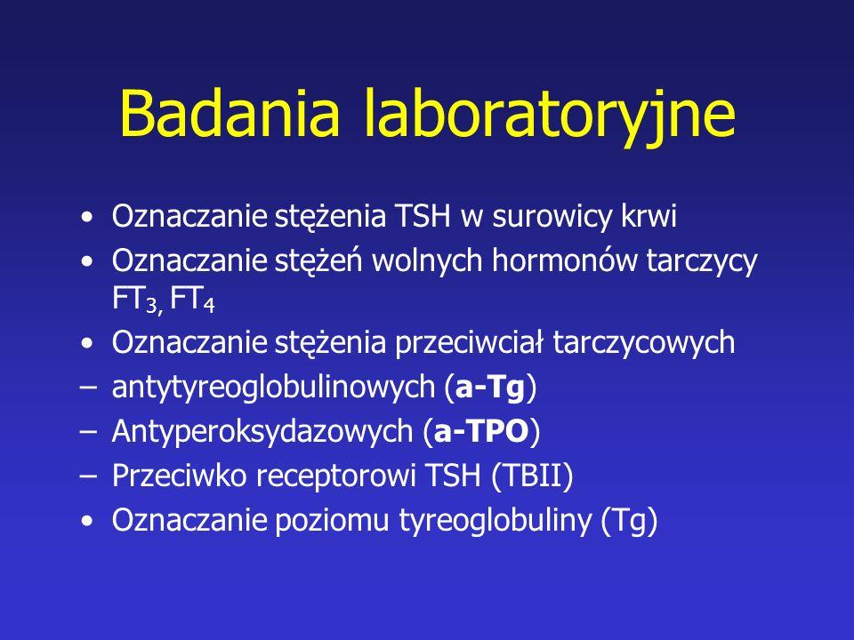 Badania laboratoryjne Oznaczanie stężenia TSH w surowicy krwi Oznaczanie stężeń wolnych hormonów tarczycy FT 3, FT 4 Oznaczanie stężenia przeciwciał t