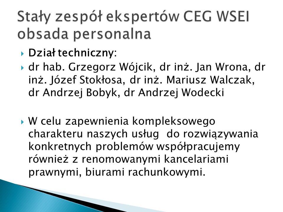  Dział techniczny:  dr hab. Grzegorz Wójcik, dr inż. Jan Wrona, dr inż. Józef Stokłosa, dr inż. Mariusz Walczak, dr Andrzej Bobyk, dr Andrzej Wodeck