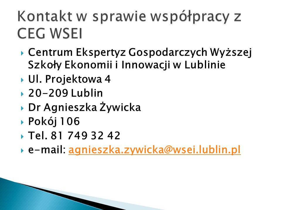  Centrum Ekspertyz Gospodarczych Wyższej Szkoły Ekonomii i Innowacji w Lublinie  Ul. Projektowa 4  20-209 Lublin  Dr Agnieszka Żywicka  Pokój 106