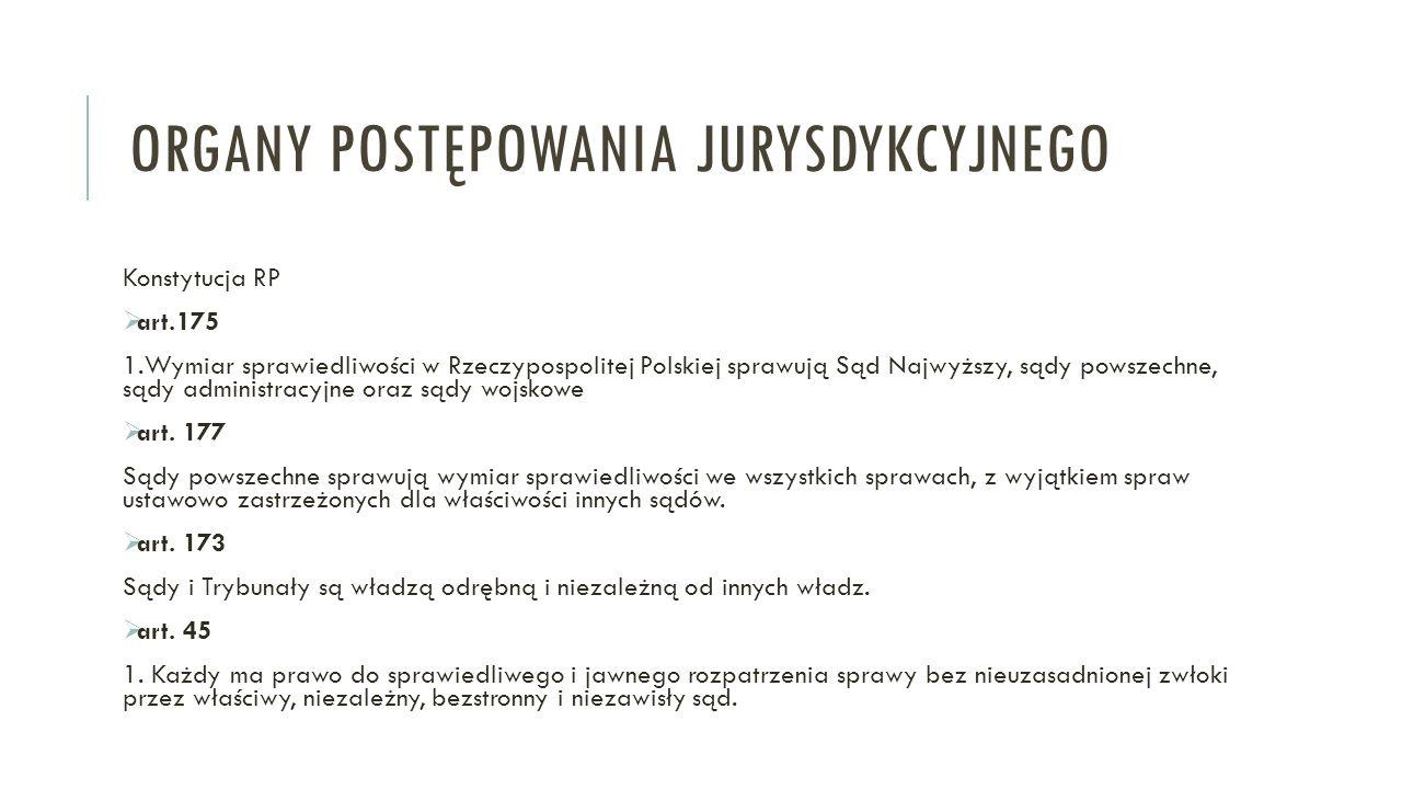 ORGANY POSTĘPOWANIA JURYSDYKCYJNEGO Konstytucja RP  art.175 1.Wymiar sprawiedliwości w Rzeczypospolitej Polskiej sprawują Sąd Najwyższy, sądy powszechne, sądy administracyjne oraz sądy wojskowe  art.