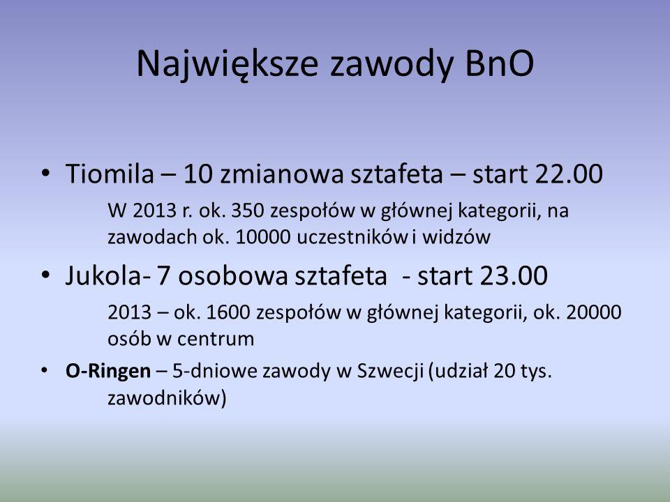 Największe zawody BnO Tiomila – 10 zmianowa sztafeta – start 22.00 W 2013 r.