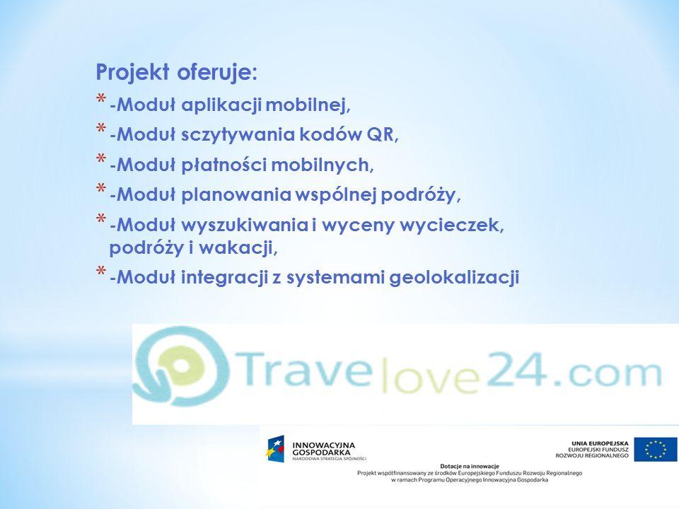 Projekt oferuje: * -Moduł aplikacji mobilnej, * -Moduł sczytywania kodów QR, * -Moduł płatności mobilnych, * -Moduł planowania wspólnej podróży, * -Moduł wyszukiwania i wyceny wycieczek, podróży i wakacji, * -Moduł integracji z systemami geolokalizacji