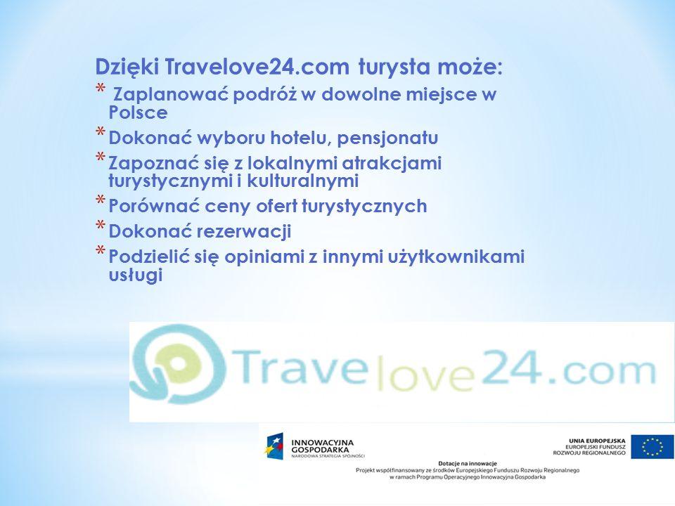 Dzięki Travelove24.com turysta może: * Zaplanować podróż w dowolne miejsce w Polsce * Dokonać wyboru hotelu, pensjonatu * Zapoznać się z lokalnymi atrakcjami turystycznymi i kulturalnymi * Porównać ceny ofert turystycznych * Dokonać rezerwacji * Podzielić się opiniami z innymi użytkownikami usługi