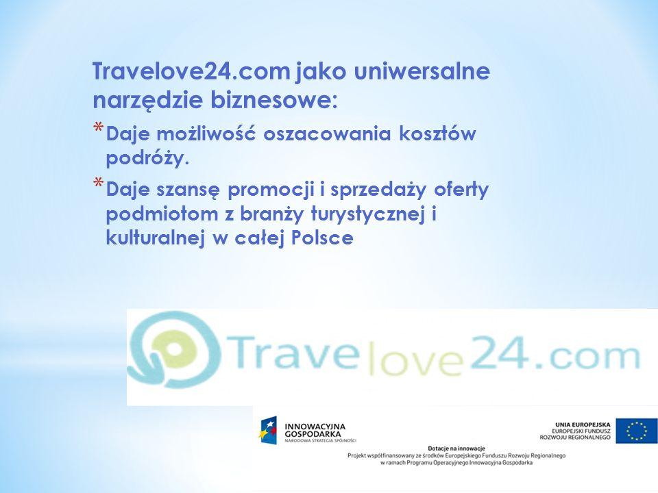 Travelove24.com jako uniwersalne narzędzie biznesowe: * Daje możliwość oszacowania kosztów podróży. * Daje szansę promocji i sprzedaży oferty podmioto