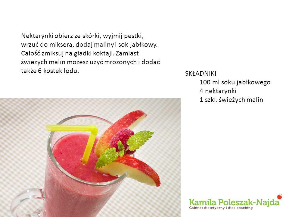 Nektarynki obierz ze skórki, wyjmij pestki, wrzuć do miksera, dodaj maliny i sok jabłkowy. Całość zmiksuj na gładki koktajl. Zamiast świeżych malin mo