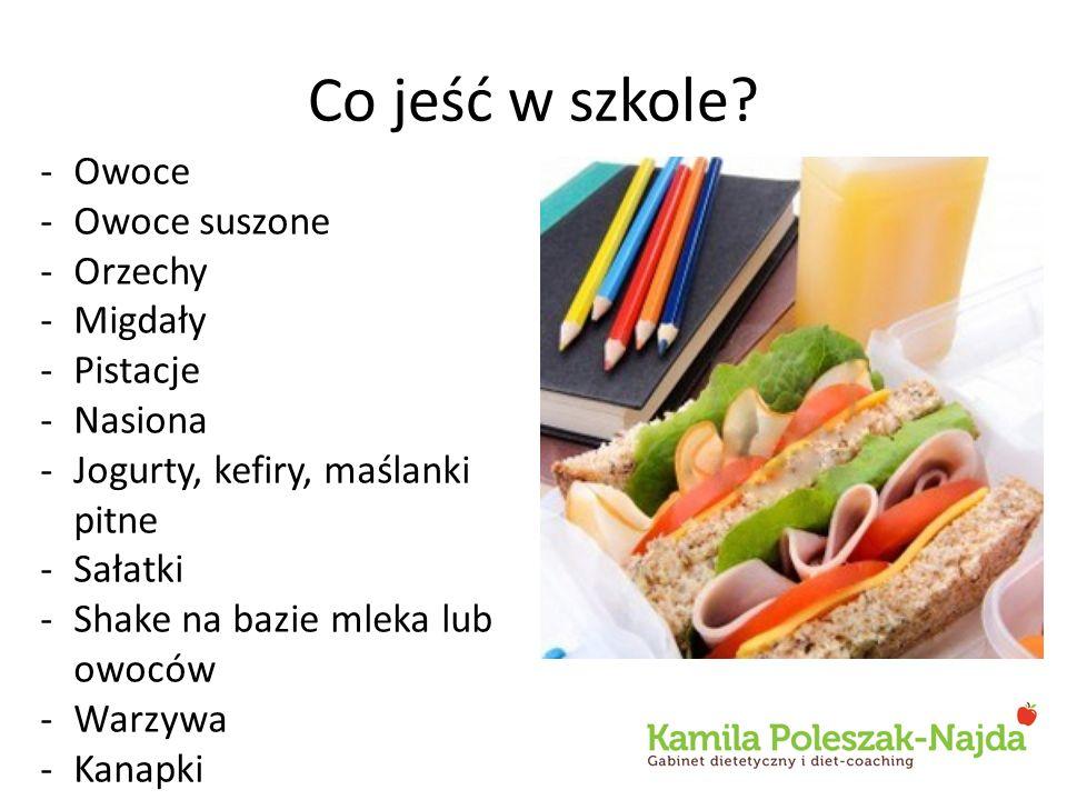 Co jeść w szkole? -Owoce -Owoce suszone -Orzechy -Migdały -Pistacje -Nasiona -Jogurty, kefiry, maślanki pitne -Sałatki -Shake na bazie mleka lub owocó