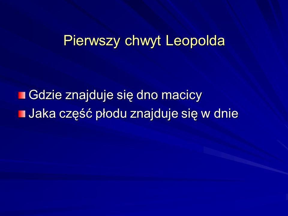 Pierwszy chwyt Leopolda Gdzie znajduje się dno macicy Jaka część płodu znajduje się w dnie