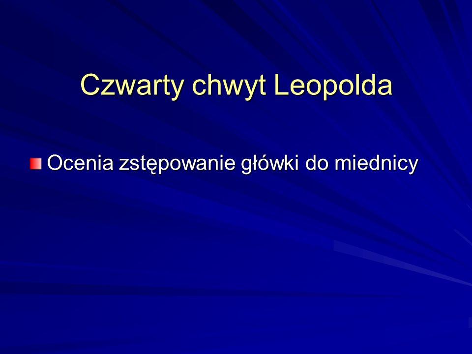 Czwarty chwyt Leopolda Ocenia zstępowanie główki do miednicy