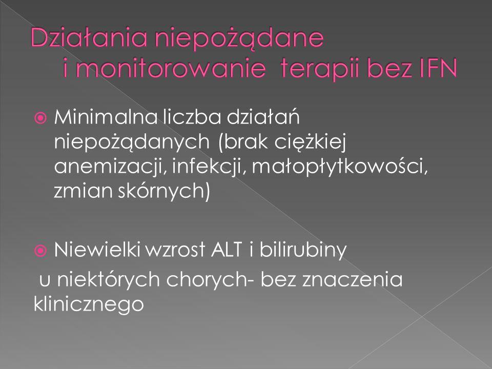  Minimalna liczba działań niepożądanych (brak ciężkiej anemizacji, infekcji, małopłytkowości, zmian skórnych)  Niewielki wzrost ALT i bilirubiny u niektórych chorych- bez znaczenia klinicznego