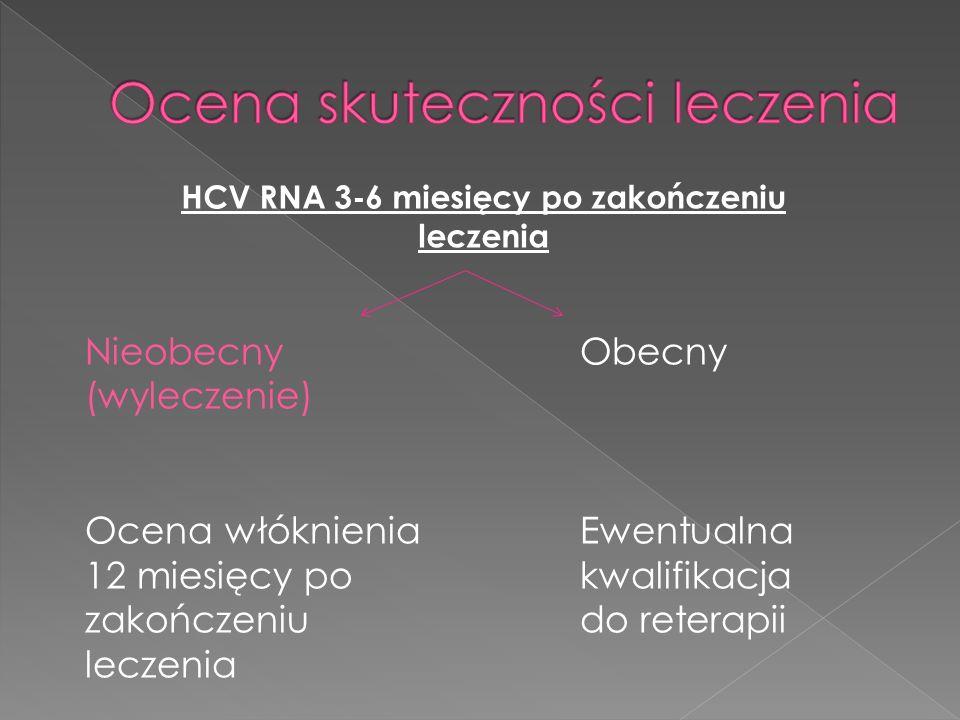 HCV RNA 3-6 miesięcy po zakończeniu leczenia Nieobecny (wyleczenie) Ocena włóknienia 12 miesięcy po zakończeniu leczenia Obecny Ewentualna kwalifikacja do reterapii