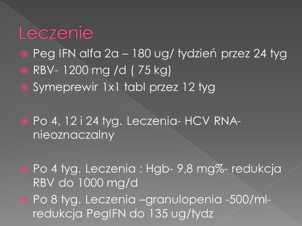  Peg IFN alfa 2a – 180 ug/ tydzień przez 24 tyg  RBV- 1200 mg /d ( 75 kg)  Symeprewir 1x1 tabl przez 12 tyg  Po 4, 12 i 24 tyg.