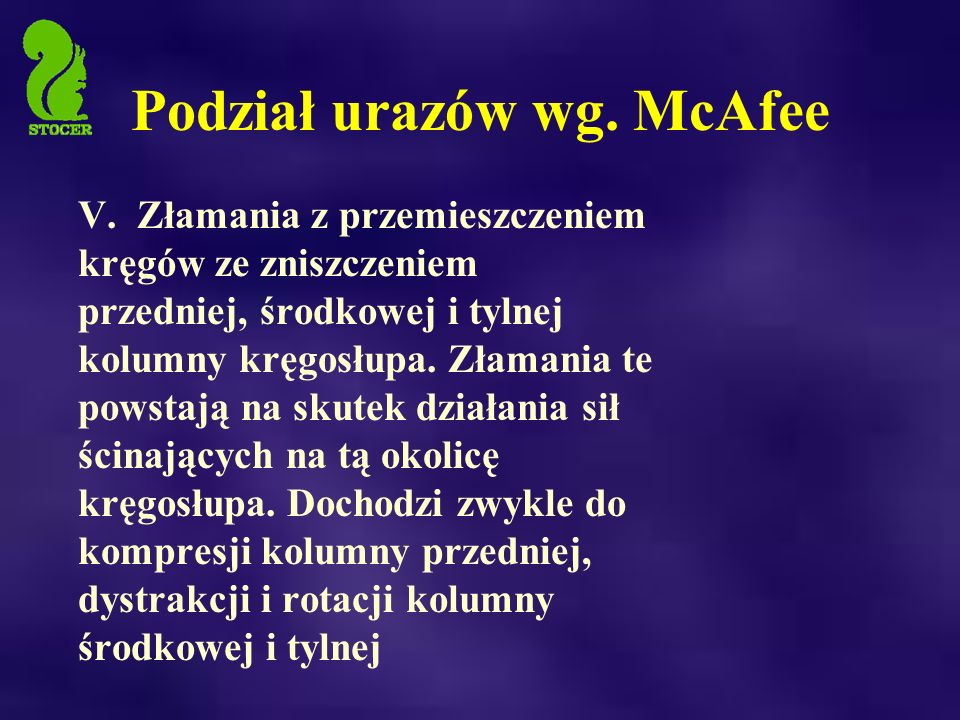 Podział urazów wg.McAfee V.