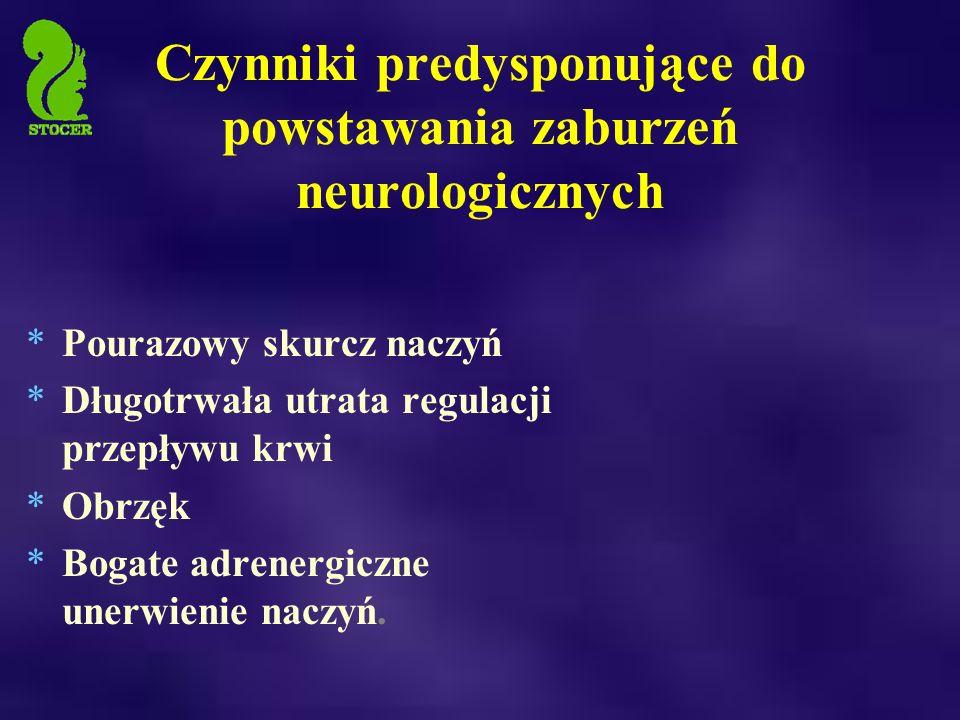 Czynniki predysponujące do powstawania zaburzeń neurologicznych *Pourazowy skurcz naczyń *Długotrwała utrata regulacji przepływu krwi *Obrzęk *Bogate adrenergiczne unerwienie naczyń.