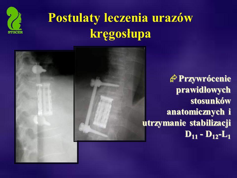  Przywrócenie prawidłowych stosunków anatomicznych i utrzymanie stabilizacji D 11 - D 12 -L 1