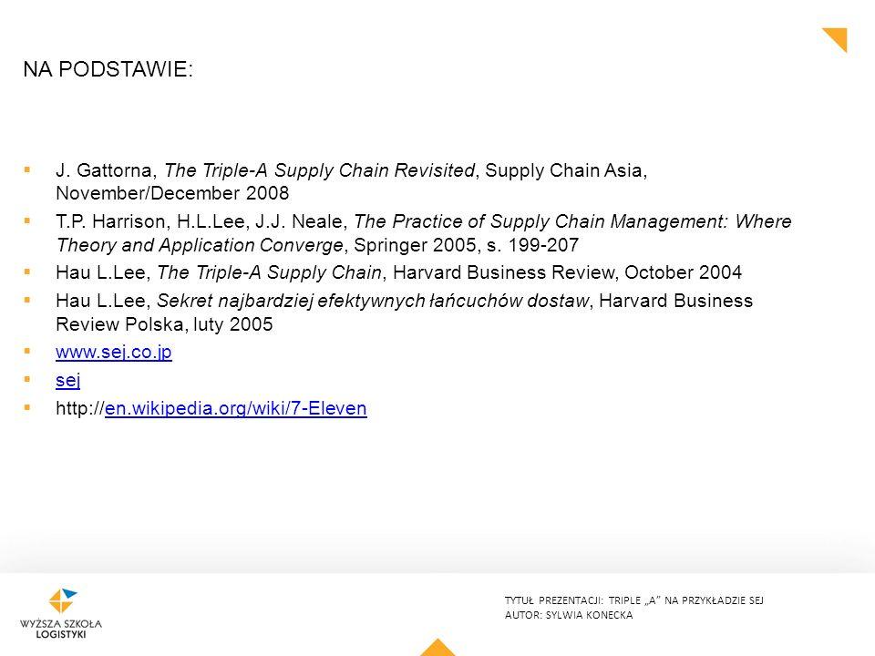 """TYTUŁ PREZENTACJI: TRIPLE """"A"""" NA PRZYKŁADZIE SEJ AUTOR: SYLWIA KONECKA NA PODSTAWIE:  J. Gattorna, The Triple-A Supply Chain Revisited, Supply Chain"""