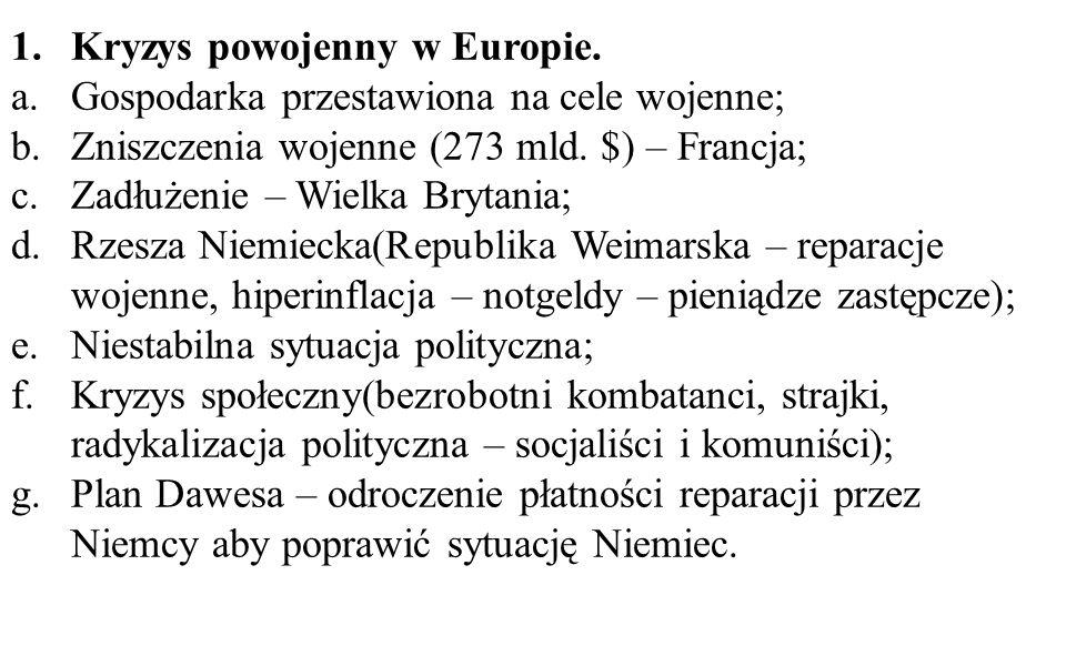 1.Kryzys powojenny w Europie.