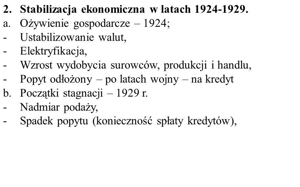 2.Stabilizacja ekonomiczna w latach 1924-1929. a.Ożywienie gospodarcze – 1924; -Ustabilizowanie walut, -Elektryfikacja, -Wzrost wydobycia surowców, pr