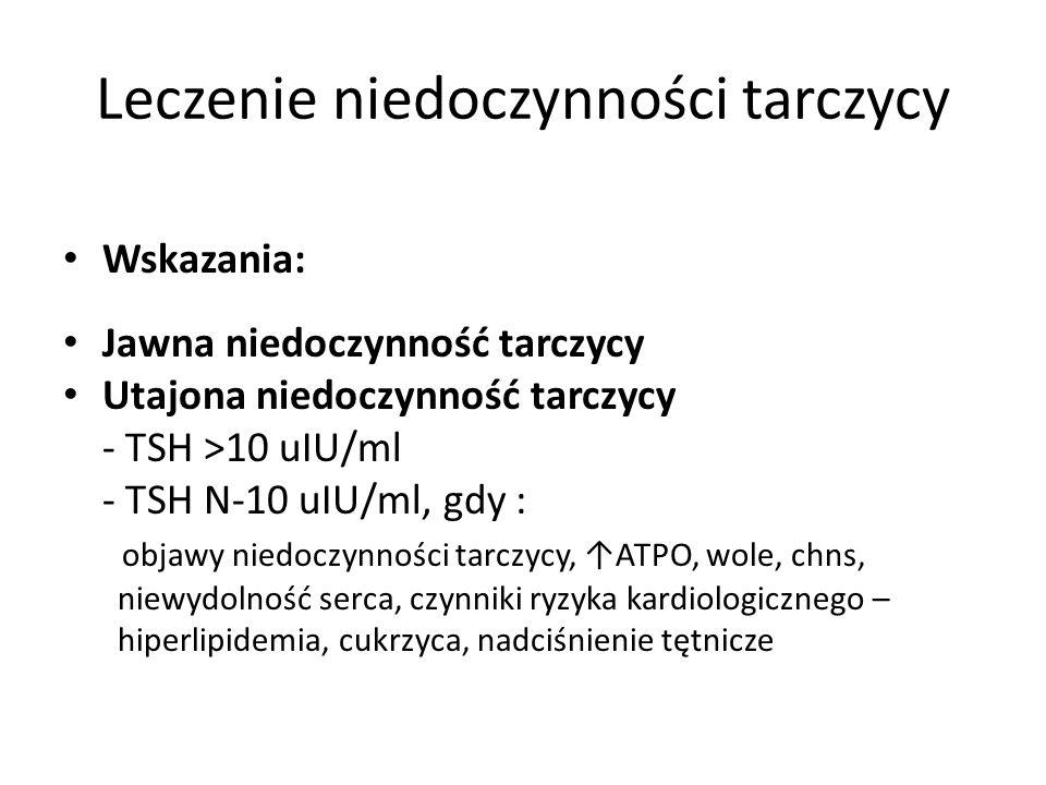 Leczenie niedoczynności tarczycy Wskazania: Jawna niedoczynność tarczycy Utajona niedoczynność tarczycy - TSH >10 uIU/ml - TSH N-10 uIU/ml, gdy : obja