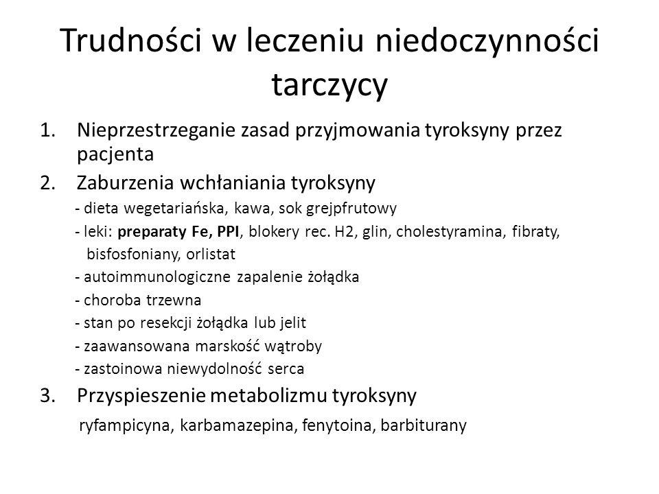 Trudności w leczeniu niedoczynności tarczycy 1.Nieprzestrzeganie zasad przyjmowania tyroksyny przez pacjenta 2.Zaburzenia wchłaniania tyroksyny - diet