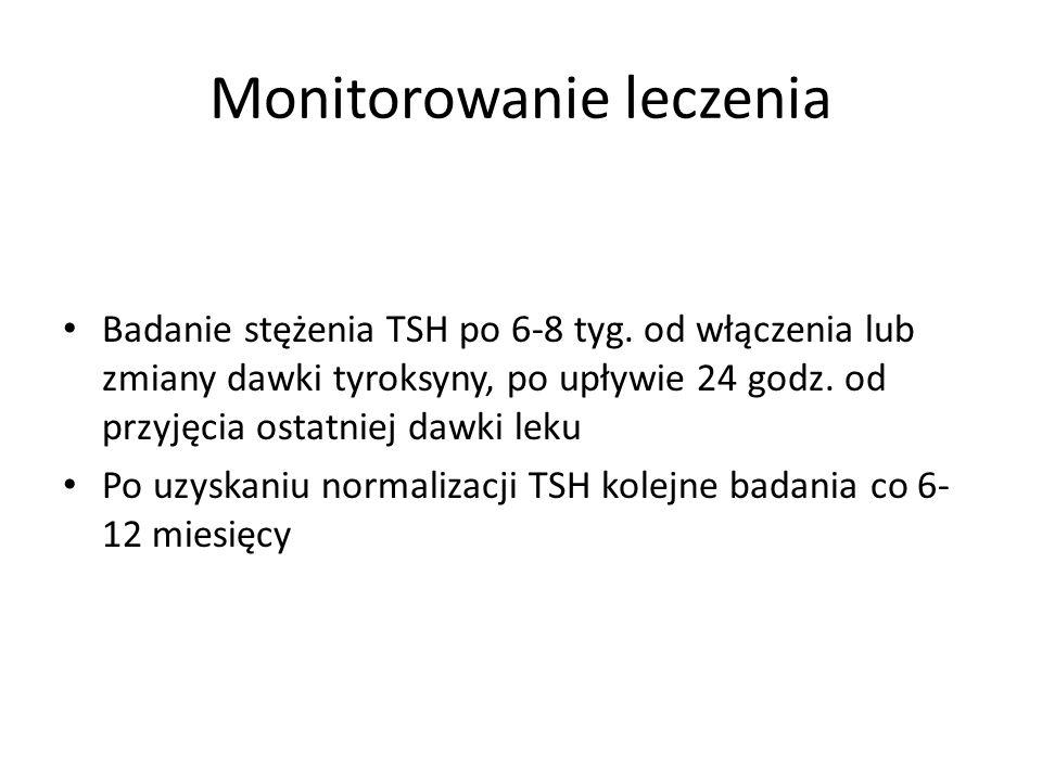 Monitorowanie leczenia Badanie stężenia TSH po 6-8 tyg. od włączenia lub zmiany dawki tyroksyny, po upływie 24 godz. od przyjęcia ostatniej dawki leku