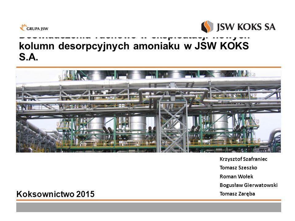 Doświadczenia ruchowe w eksploatacji nowych kolumn desorpcyjnych amoniaku w JSW KOKS S.A. Krzysztof Szafraniec Tomasz Szeszko Roman Wołek Bogusław Gie