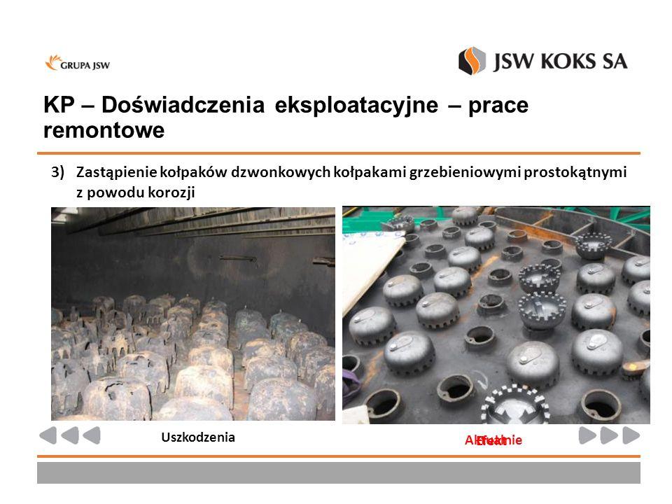 KP – Doświadczenia eksploatacyjne – prace remontowe 3)Zastąpienie kołpaków dzwonkowych kołpakami grzebieniowymi prostokątnymi z powodu korozji Uszkodz