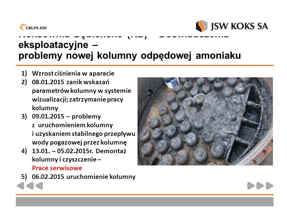Koksownia Dębieńsko (KD) – Doświadczenia eksploatacyjne – problemy nowej kolumny odpędowej amoniaku 1)Wzrost ciśnienia w aparacie 2)08.01.2015 zanik w