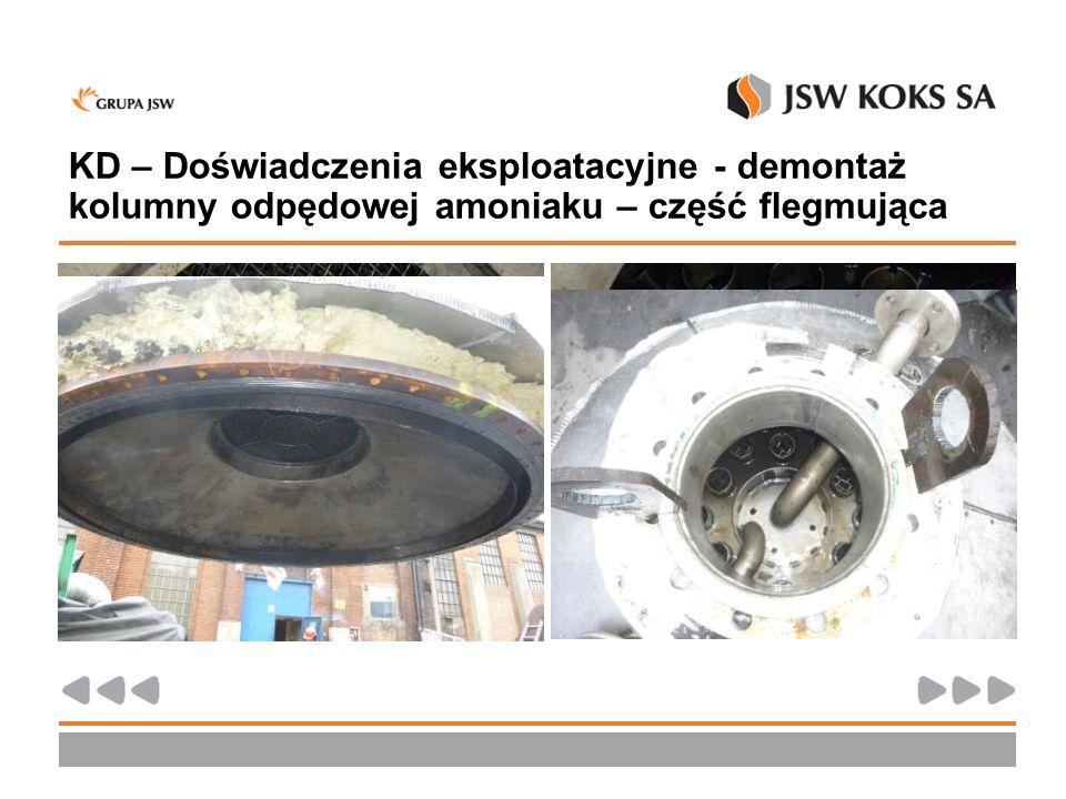 KD – Doświadczenia eksploatacyjne - demontaż kolumny odpędowej amoniaku – część flegmująca