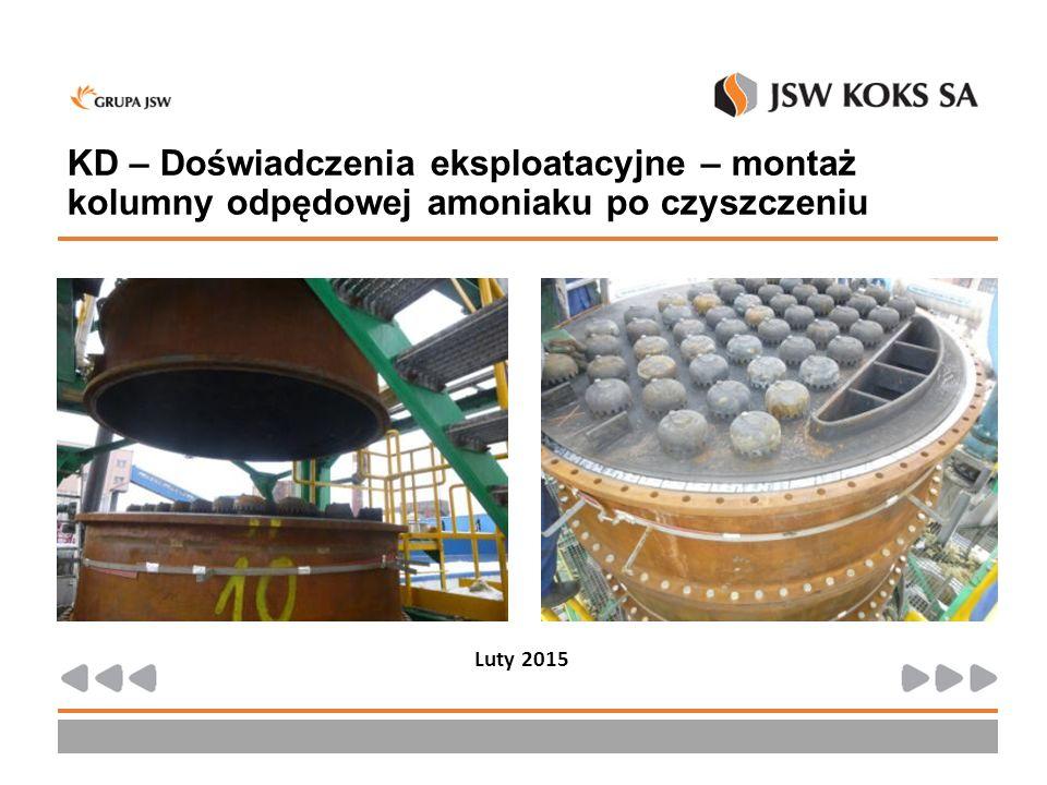 KD – Doświadczenia eksploatacyjne – montaż kolumny odpędowej amoniaku po czyszczeniu Luty 2015