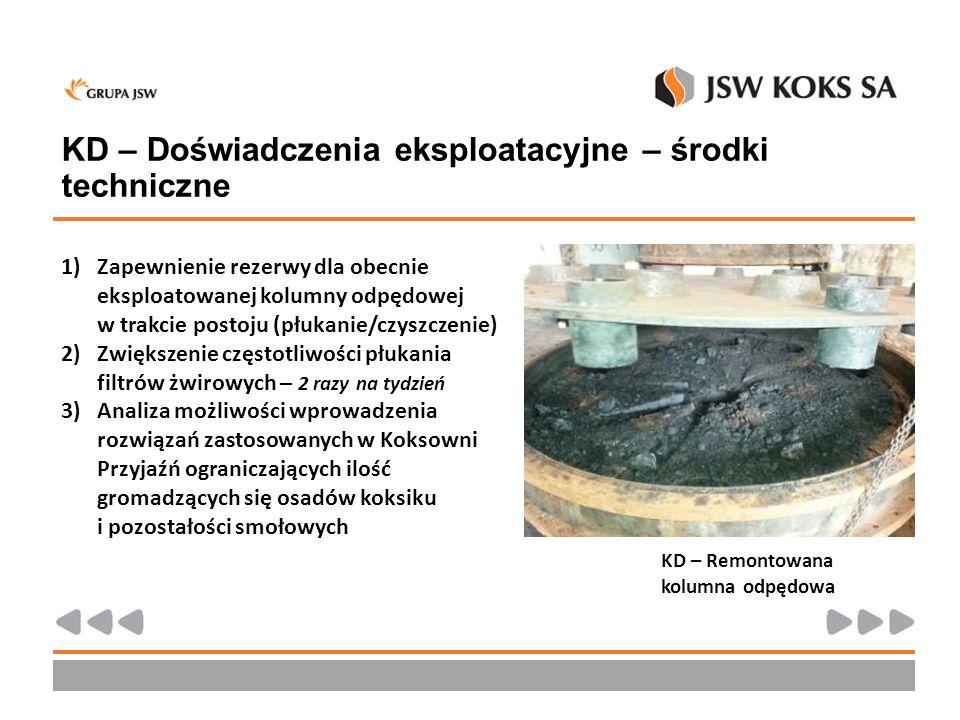 KD – Doświadczenia eksploatacyjne – środki techniczne 1)Zapewnienie rezerwy dla obecnie eksploatowanej kolumny odpędowej w trakcie postoju (płukanie/c
