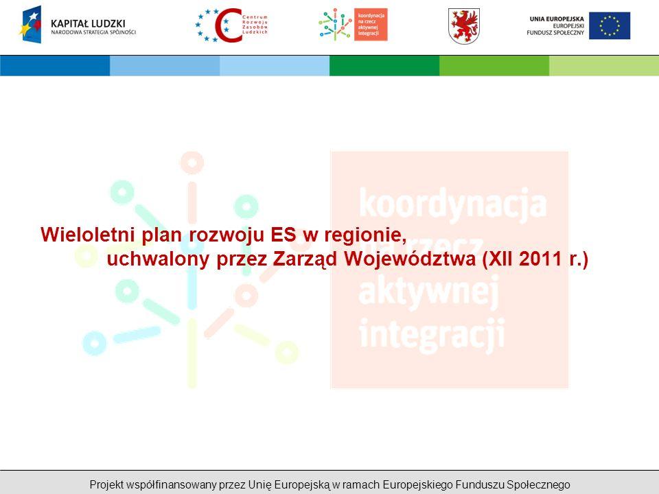 Projekt współfinansowany przez Unię Europejską w ramach Europejskiego Funduszu Społecznego Wieloletni plan rozwoju ES w regionie, uchwalony przez Zarząd Województwa (XII 2011 r.)