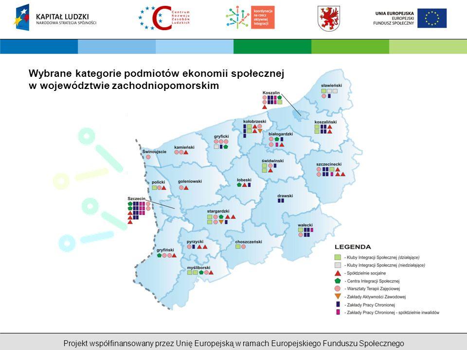 Projekt współfinansowany przez Unię Europejską w ramach Europejskiego Funduszu Społecznego Ekonomia społeczna w Strategii Województwa Zachodniopomorskiego Cel strategiczny nr 6 Wzrost tożsamości i spójności społecznej Cel kierunkowy 6.6 Przeciwdziałanie ubóstwu i procesom marginalizacji Działania A.Przeciwdziałanie procesom marginalizacji społecznej B.Oddolne inicjatywy na rzecz przeciwdziałania ubóstwu C.Działania partnerskie na rzecz integracji społecznej D.Rozwijanie instrumentów ekonomii społecznej E.Rozwój kadr pomocy i integracji społecznej F.Realizacja szkoleń i form dialogu adresowanych do osób i instytucji dotyczących przemocy w rodzinie i zjawisk jej towarzyszących