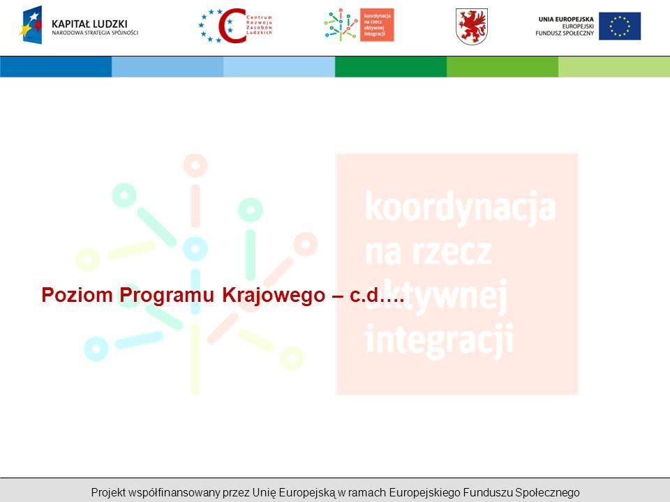 Projekt współfinansowany przez Unię Europejską w ramach Europejskiego Funduszu Społecznego Poziom Programu Krajowego – c.d….