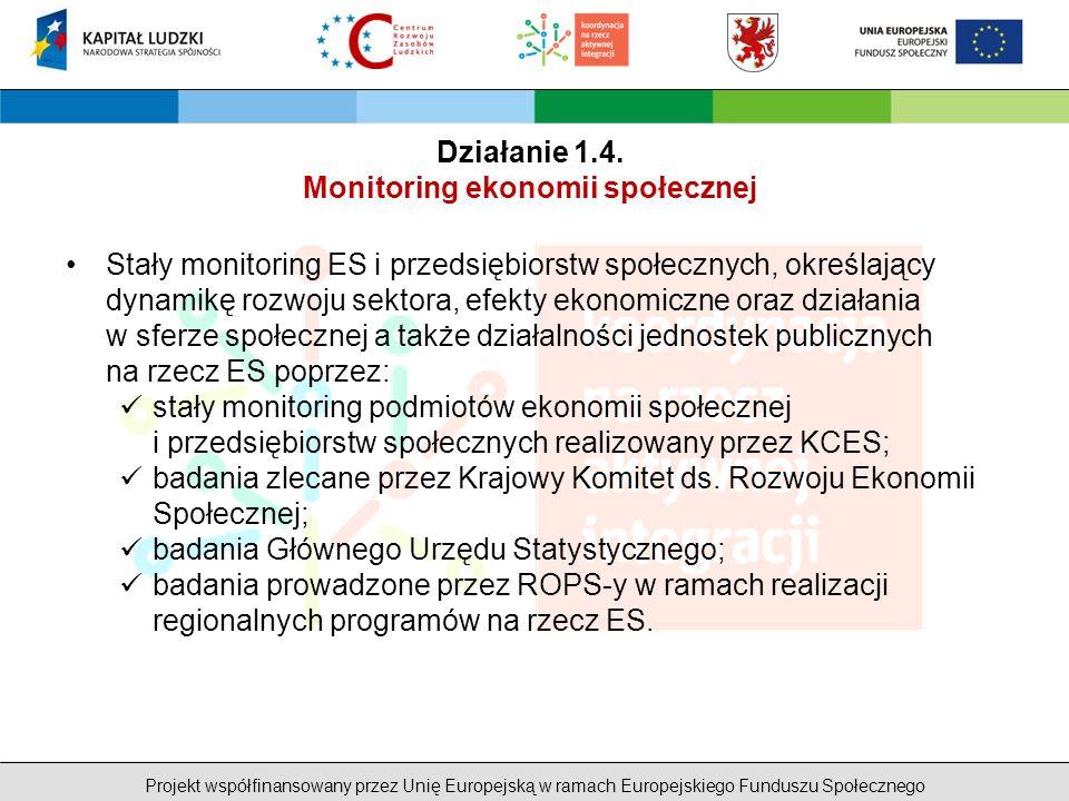 Projekt współfinansowany przez Unię Europejską w ramach Europejskiego Funduszu Społecznego Stały monitoring ES i przedsiębiorstw społecznych, określający dynamikę rozwoju sektora, efekty ekonomiczne oraz działania w sferze społecznej a także działalności jednostek publicznych na rzecz ES poprzez: stały monitoring podmiotów ekonomii społecznej i przedsiębiorstw społecznych realizowany przez KCES; badania zlecane przez Krajowy Komitet ds.