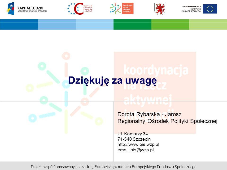 Projekt współfinansowany przez Unię Europejską w ramach Europejskiego Funduszu Społecznego Dziękuję za uwagę Dorota Rybarska - Jarosz Regionalny Ośrodek Polityki Społecznej Ul.