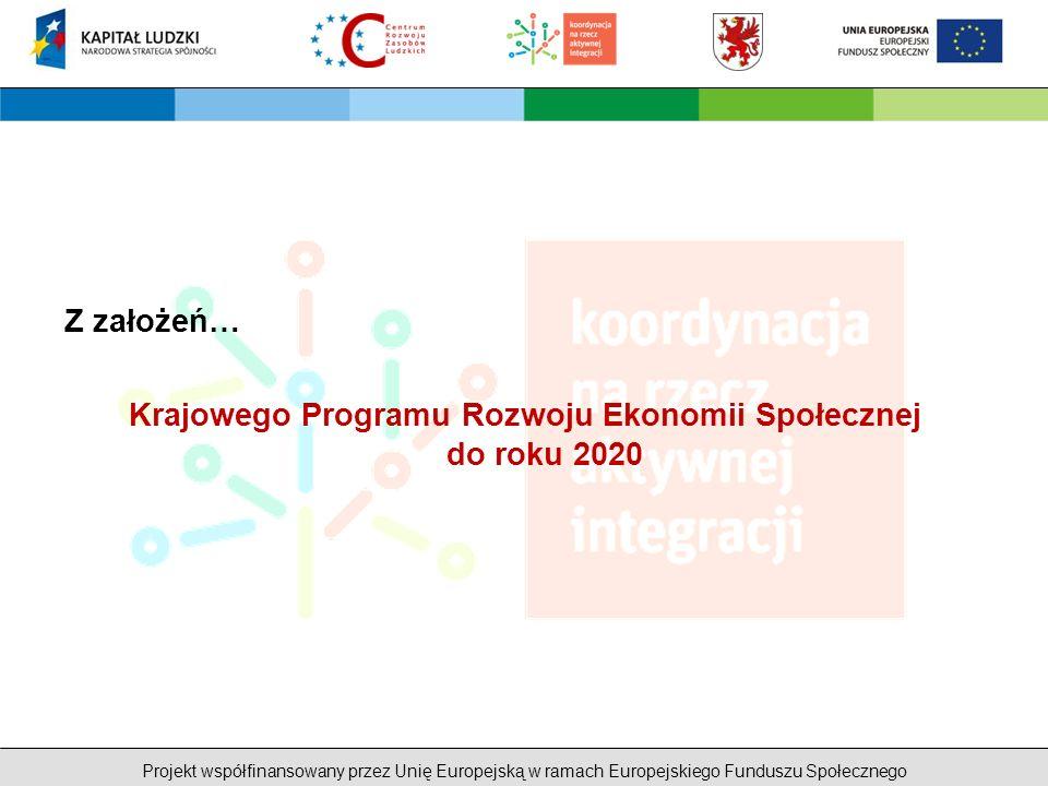 Projekt współfinansowany przez Unię Europejską w ramach Europejskiego Funduszu Społecznego Z założeń… Krajowego Programu Rozwoju Ekonomii Społecznej do roku 2020
