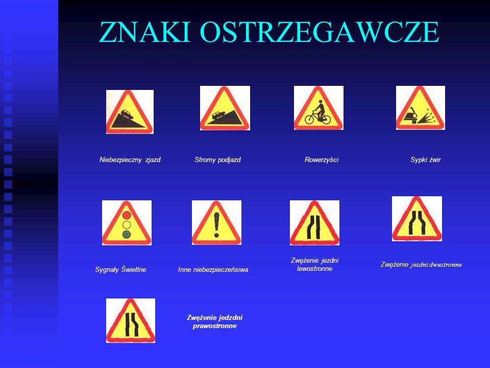 ^ WYBRANE ZNAKI DROGOWE ZNAKI OSTRZEGAWCZE (A) uprzedzają o miejscach na drodze, w których występuje b może występować niebezpieczeństwo: Webezpieczny