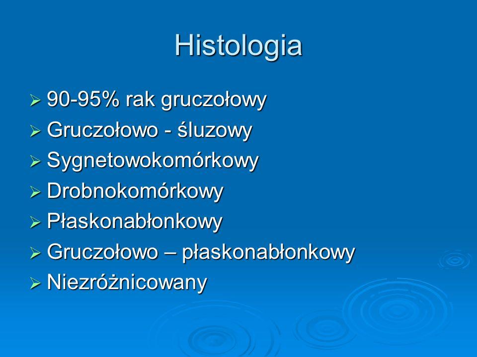 Histologia  90-95% rak gruczołowy  Gruczołowo - śluzowy  Sygnetowokomórkowy  Drobnokomórkowy  Płaskonabłonkowy  Gruczołowo – płaskonabłonkowy 