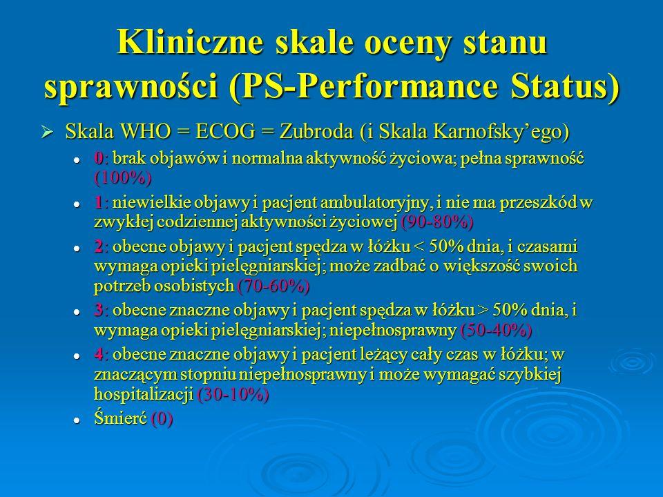 Kliniczne skale oceny stanu sprawności (PS-Performance Status)  Skala WHO = ECOG = Zubroda (i Skala Karnofsky'ego) 0: brak objawów i normalna aktywno