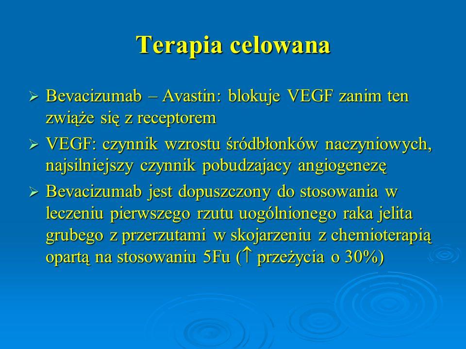 Terapia celowana  Bevacizumab – Avastin: blokuje VEGF zanim ten zwiąże się z receptorem  VEGF: czynnik wzrostu śródbłonków naczyniowych, najsilniejs