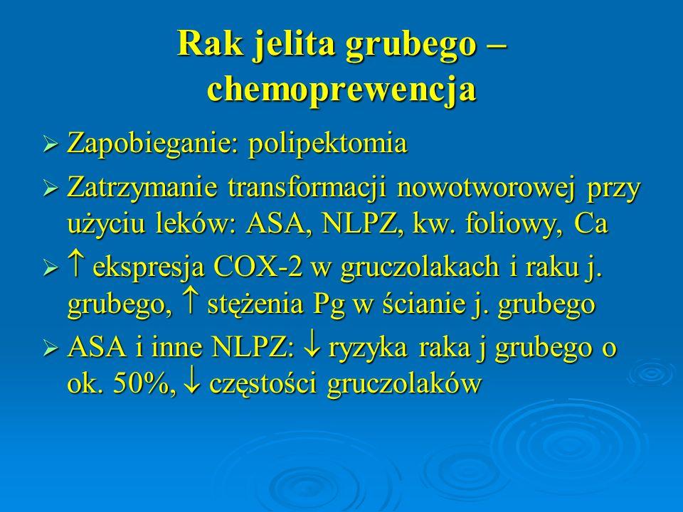 Rak jelita grubego – chemoprewencja  Zapobieganie: polipektomia  Zatrzymanie transformacji nowotworowej przy użyciu leków: ASA, NLPZ, kw. foliowy, C