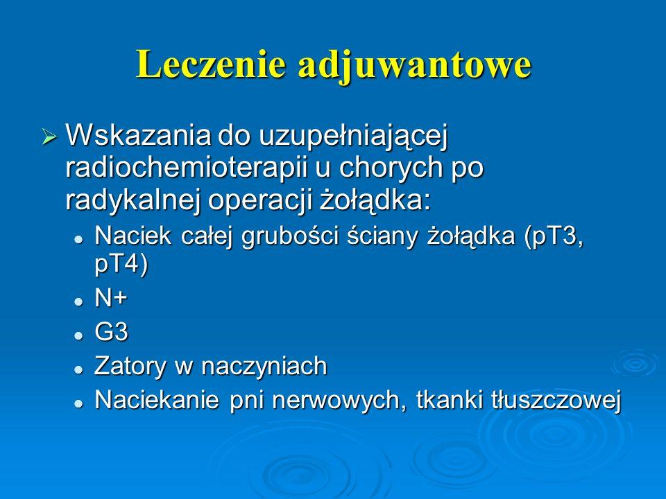Leczenie adjuwantowe  Wskazania do uzupełniającej radiochemioterapii u chorych po radykalnej operacji żołądka: Naciek całej grubości ściany żołądka (