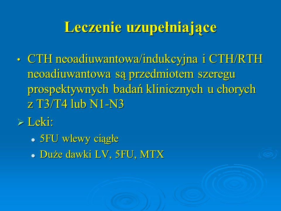 Leczenie uzupełniające CTH neoadiuwantowa/indukcyjna i CTH/RTH neoadiuwantowa są przedmiotem szeregu prospektywnych badań klinicznych u chorych z T3/T