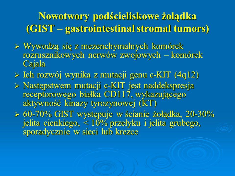 Nowotwory podścieliskowe żołądka (GIST – gastrointestinal stromal tumors)  Wywodzą się z mezenchymalnych komórek rozrusznikowych nerwów zwojowych – k